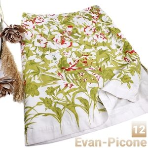Evan Picone Green Red White Floral Skirt 12